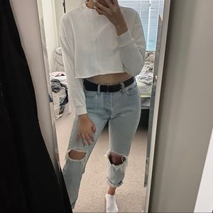 TOPSHOP White Cropped Cotton Crewneck Sweatshirt